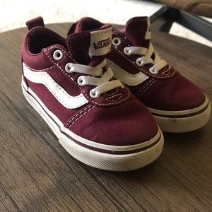 Burgundy red vans old skool shoes